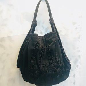Lockheart Black Canvas Leather Hobo Shoulder Bag